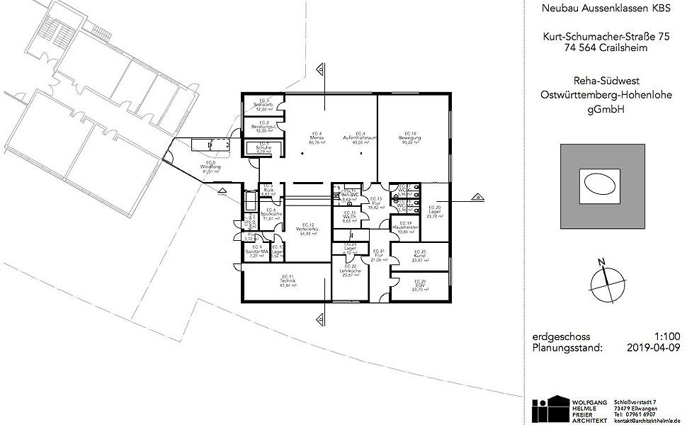 Neubaus für die Außenklassen/ kooperativen Organisationsformen der Konrad-Biesalski-Schule in Crailsheim